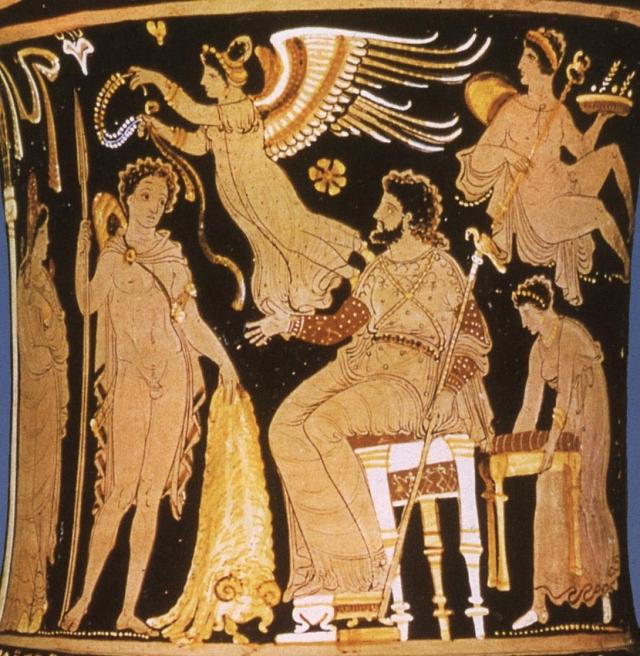 Ясон приносит золотое руно царю Иолка Пелию. Деталь. 350—340 гг. до н. э