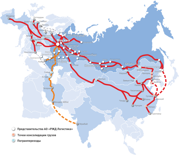 Представительства РЖД на карте