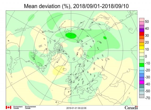 Рис. 1. Среднедекадные (1-10 сентября 2018 г.) аномалии общего содержания озона в Северном полушарии