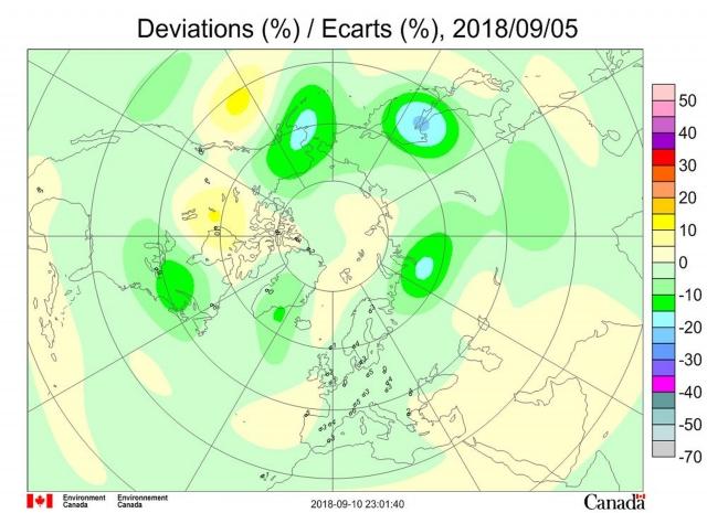 Рис. 4. Аномалии общего содержания озона 5 сентября 2018 г. в Северном полушарии