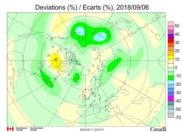 Рис. 5. Аномалии общего содержания озона 6 сентября 2018 г. в Северном полушарии
