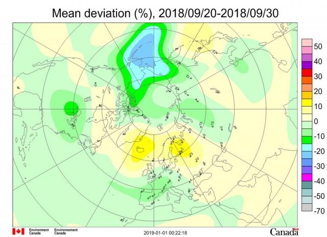 Рис. 3. Среднедекадные (21-30сентября 2018 г.) аномалии общего содержания озона в Северном полушарии