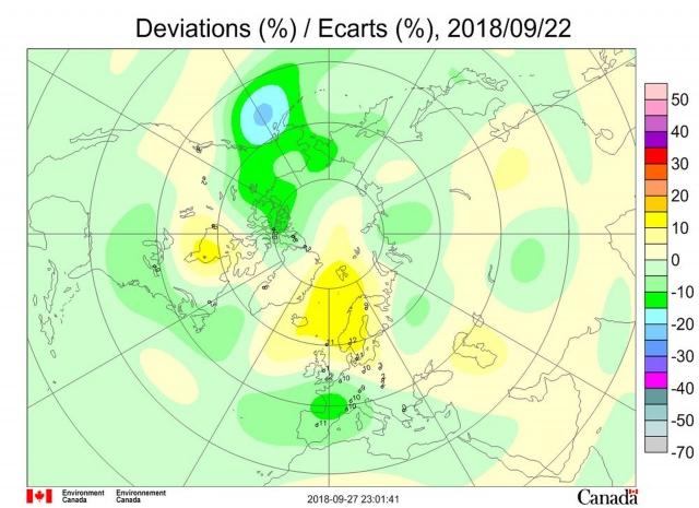 Рис. 7. Аномалии общего содержания озона 22 сентября 2018 г. в Северном полушарии