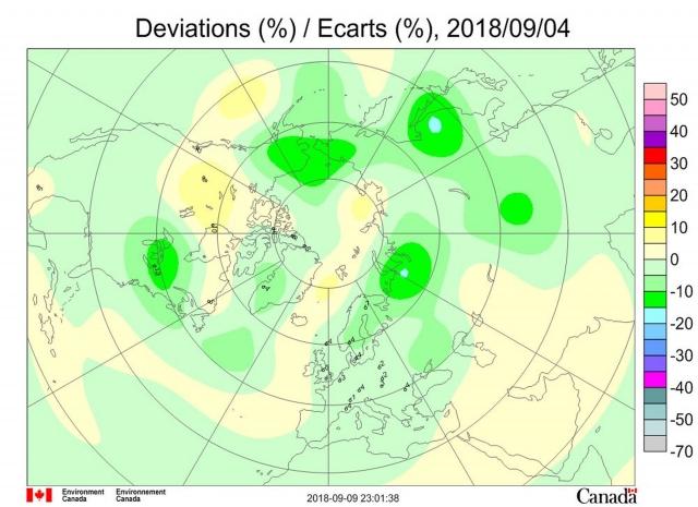 Рис. 6. Аномалии общего содержания озона 4 сентября 2018 г. в Северном полушарии