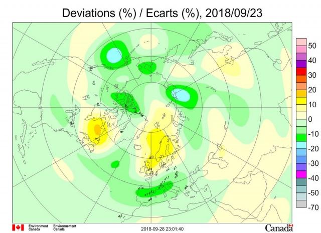 Рис. 8. Аномалии общего содержания озона 23 сентября 2018 г. в Северном полушарии