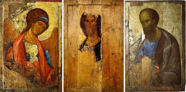 Звенигородский чин Андрея Рублева: Архангел Михаил, Спас, апостол Павел. 1408