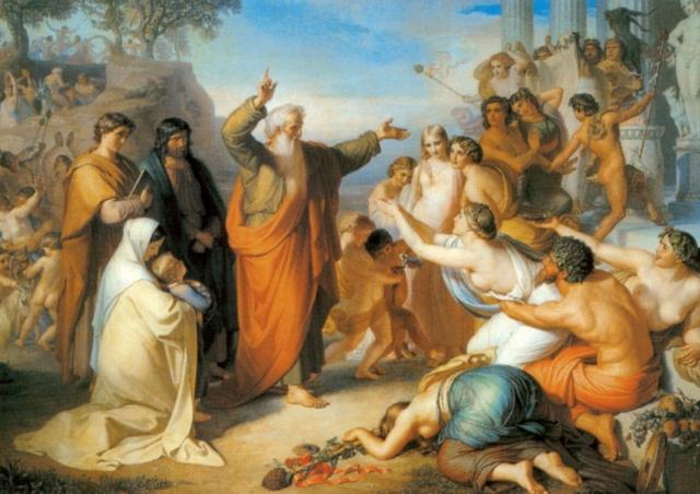Федор Антонович Моллер. Апостол Иоанн Богослов, проповедующий на острове Патмосе во время вакханалий. 1856