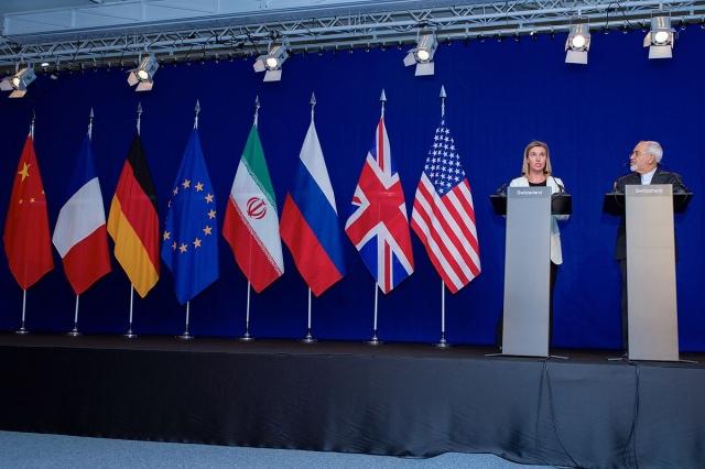 Переговоры по ядерной программе Ирана — Верховный представитель ЕС Могерини и министр иностранных дел Ирана Зариф выступили перед журналистами в Лозанне