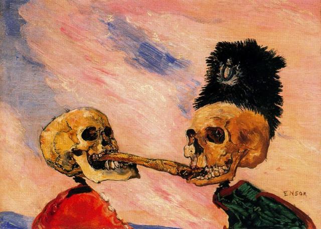 Джеймс Энсор. Борьба скелетов за маринованную сельдь. 1891