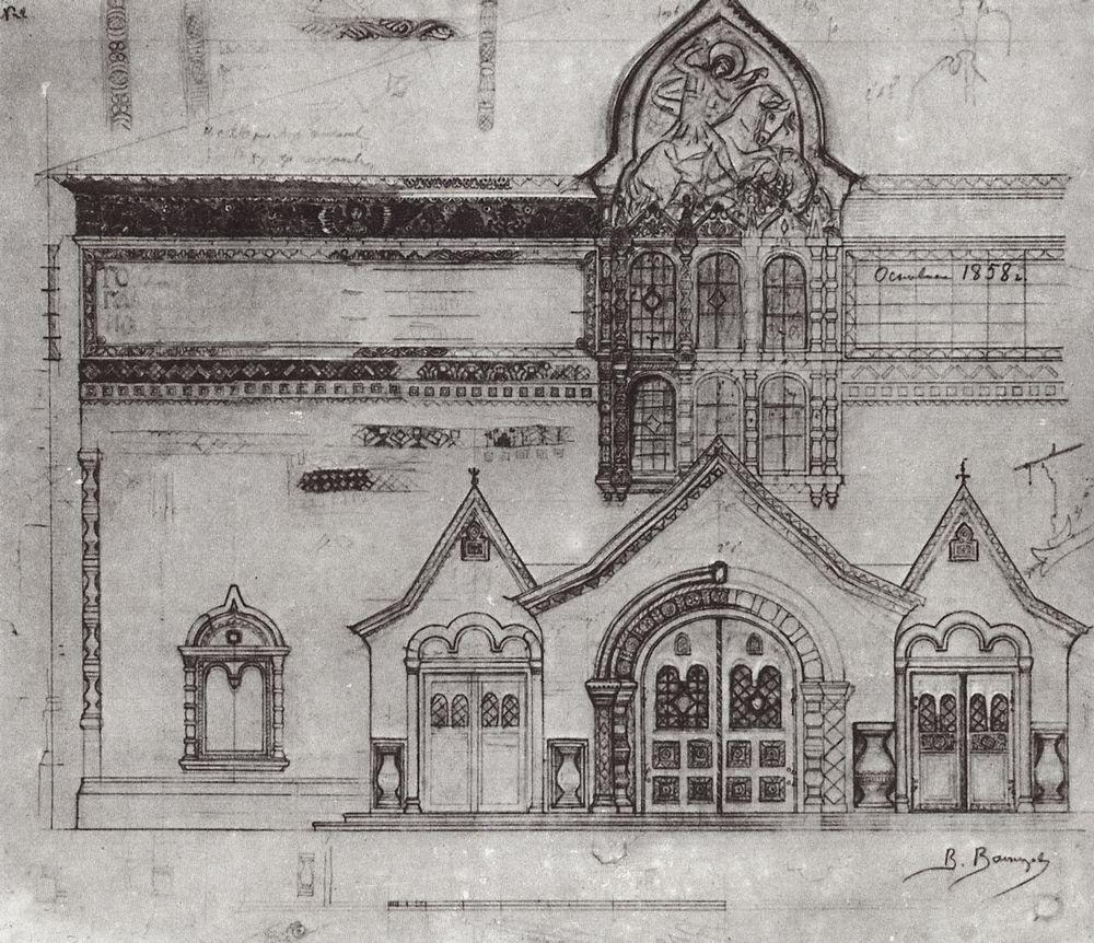 Виктор Васнецов. Проект фасада Третьяковской галереи. 1900