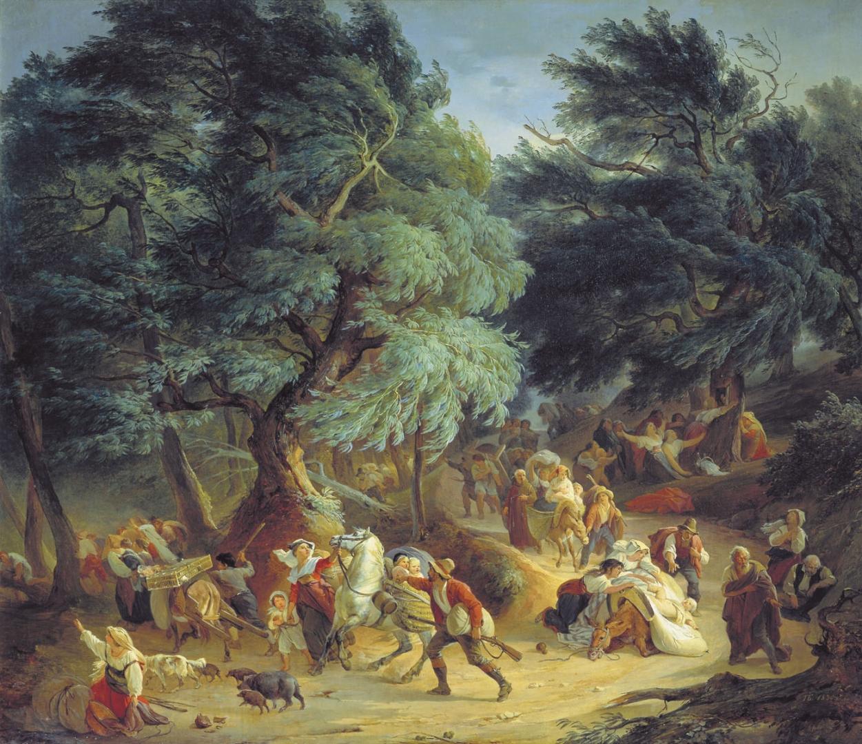 Петр Басин. Землетрясение в Рокка ди Папа близ Рима. 1830