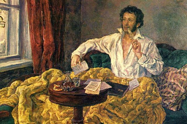 Александр Сергеевич Пушкин за работой