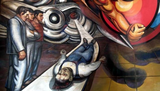 Давид Сикейрос. Социальное обеспечение рабочих при капитализме и социализме. 1954. Вестибюль в госпитале Де ла Раса