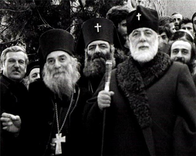 Патриарх Грузии Илия II, архимандрит Гавриил и архиепископы