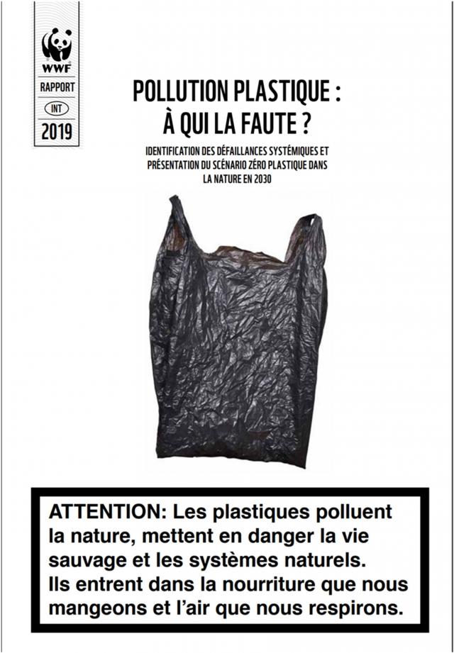 Предупреждение на титульном листе доклада WWF: «ВНИМАНИЕ: Пластмассы загрязняют окружающую среду, подвергают опасности дикую природу и природные системы. Пластик попадает в пищу, которые мы едим, и воздух, которым мы дышим»