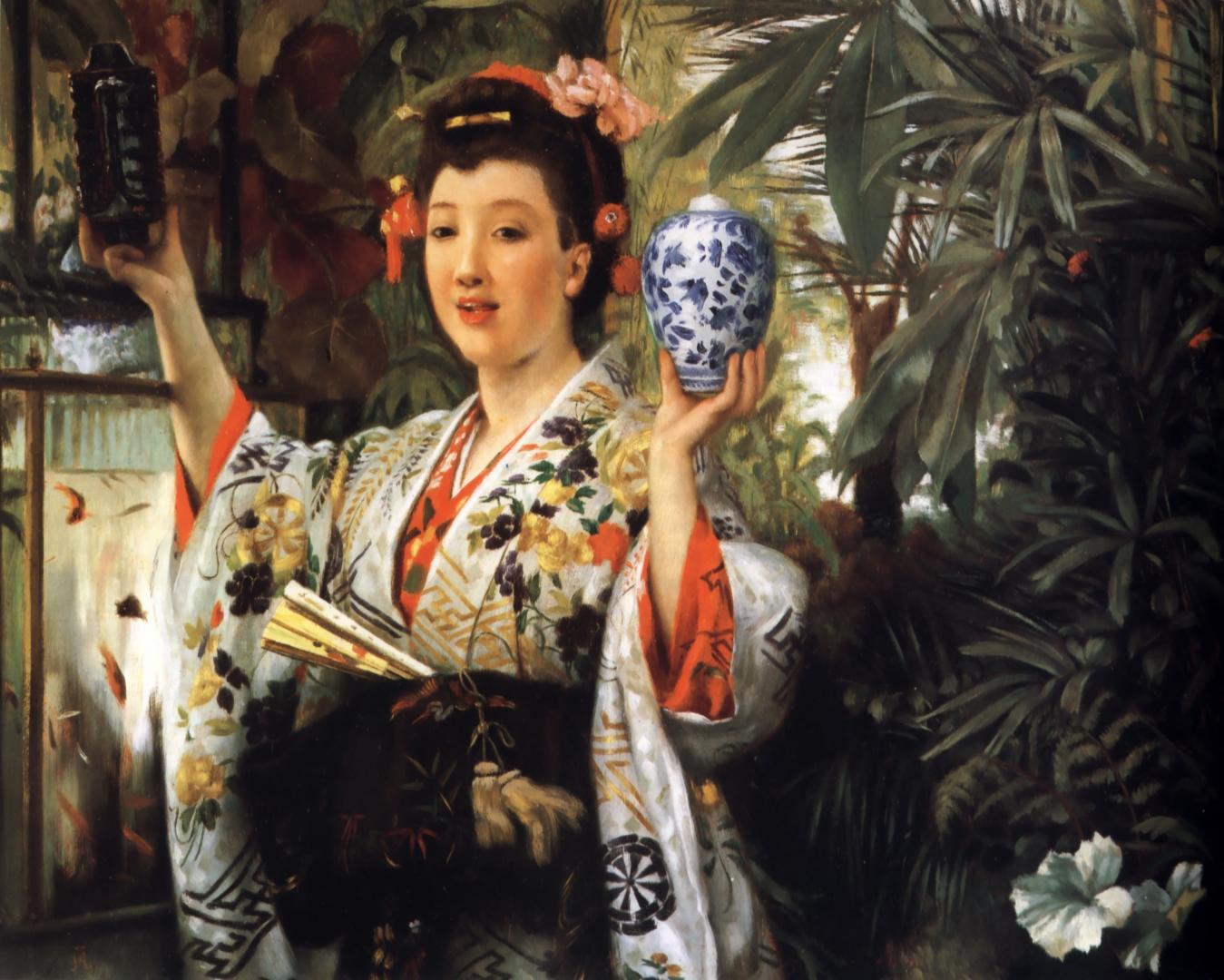 Джеймс Тиссо. Девушка, держащая японские изделия. 1865