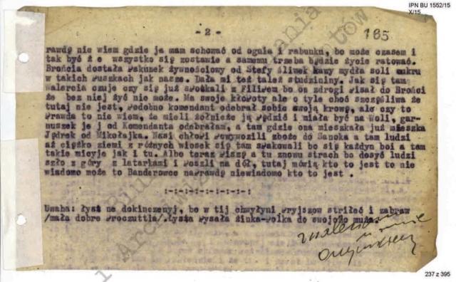 Машинописный оригинал документа. Страница 2. Внизу текста — приписка бандеровца