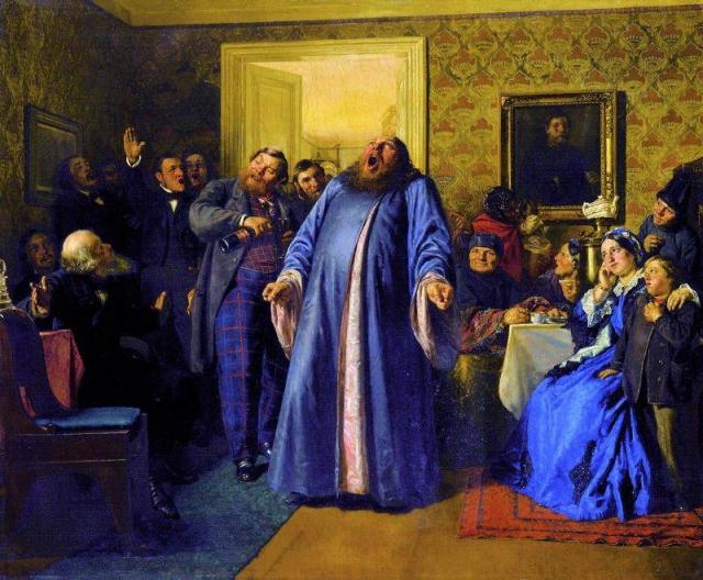 Николай Неврев. Протодиакон, провозглашающий на купеческих именинах долголетие. 1866