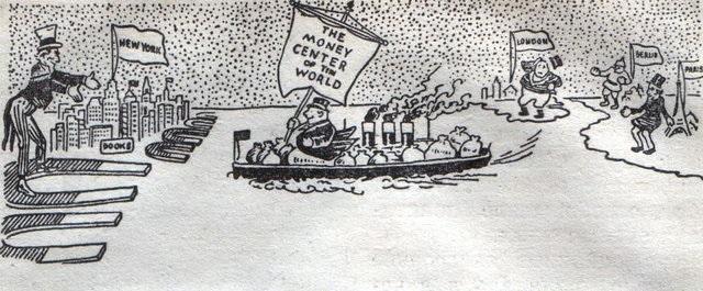 Американские магниты и европейское золото. Английская карикатура. 1915