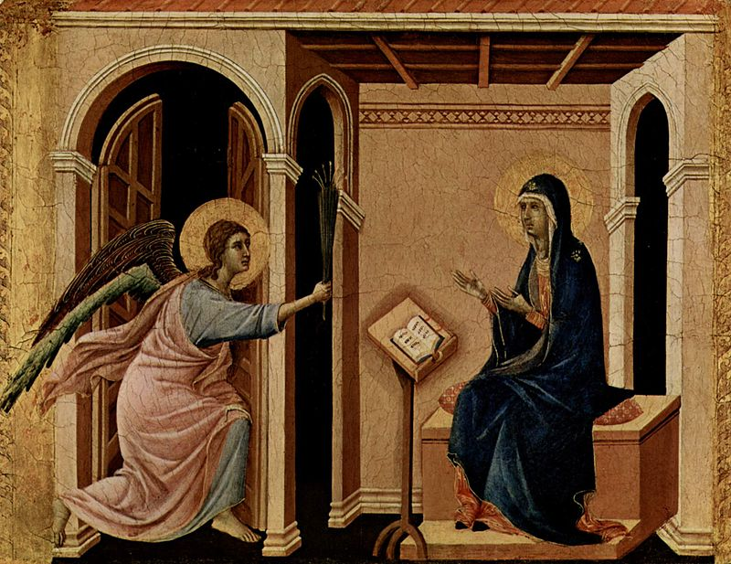 Дуччо ди Буонинсенья. Архангел Гавриил приносит Деве Марии весть о предстоящей кончине. 1308-1311