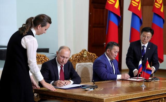 Подписание документов по итогам российско-монгольских переговоров