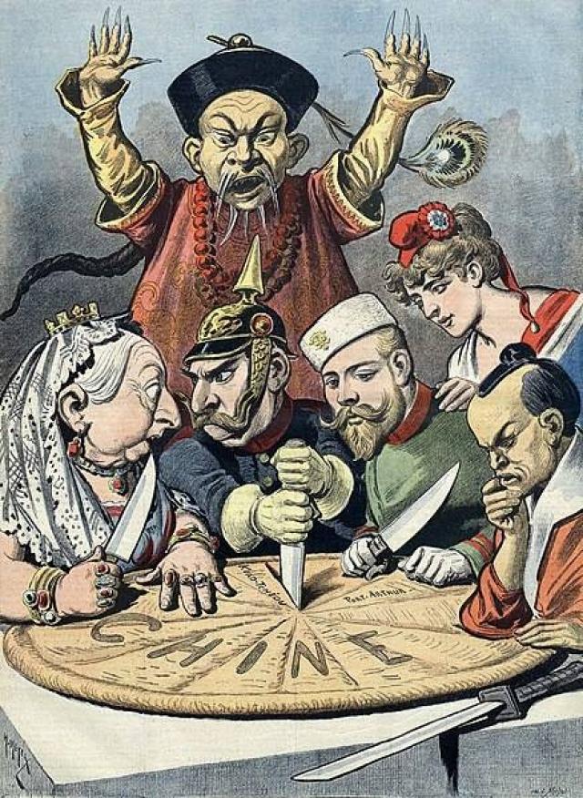 La partition de la Chine par les puissances européennes et le Japon.  Caricature française.  1890