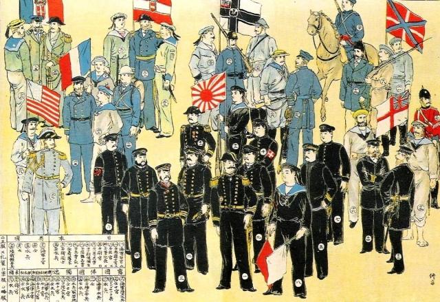 Forces armées de l'alliance des huit puissances de gauche à droite: Royaume d'Italie, USA, France, Autriche-Hongrie, Japon, Allemagne, Grande-Bretagne, Russie.  1900 illustration japonaise