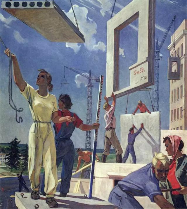 Александр Дайнека. Эскиз мозаики «Мирные стройки». 1959