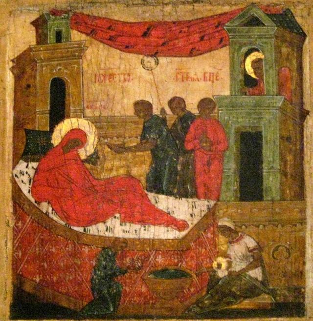 Рождество Богородицы, псковская икона XVI-XVII веков