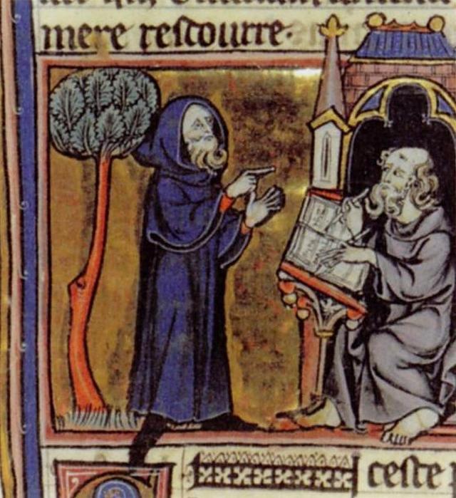Мерлин, диктующий свои пророчества. Миниатюра из рукописи романа Робера де Борона «Мерлин». 1300