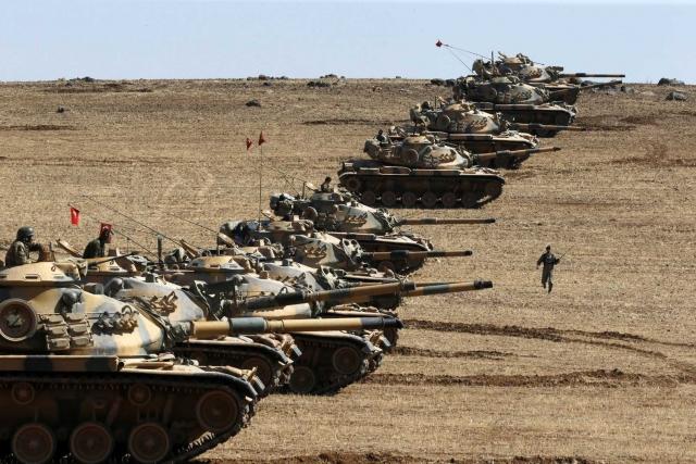 Турецкие танки. Операция «Щит Евфрата». Сирийско-турецкая граница