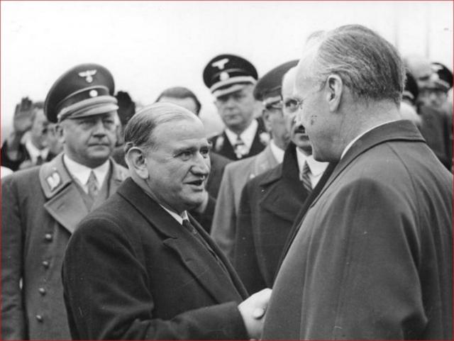 Эластичный французский радикальный социалист Эдуард Даладье и нацистский Иоахим фон Риббентроп. 1938