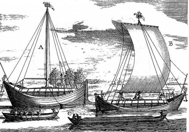 Русские лодьи. Гравюра XVII века