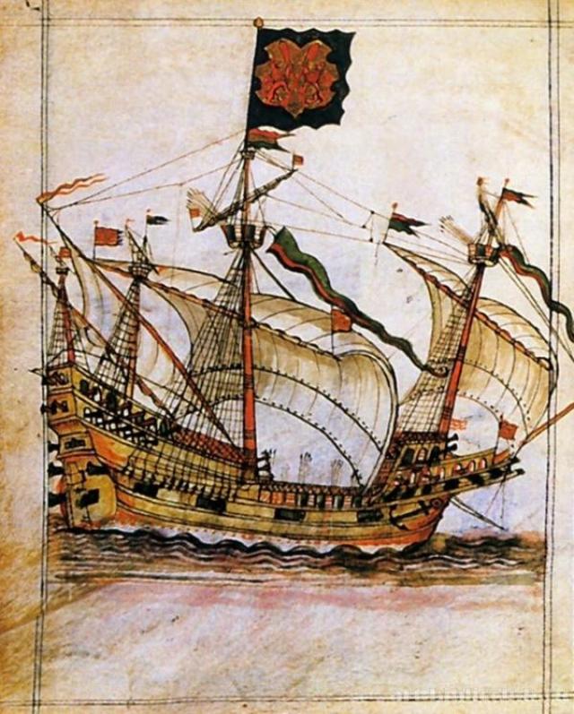 Английский военный корабль эпохи Тюдоров. Рисунок XVI века