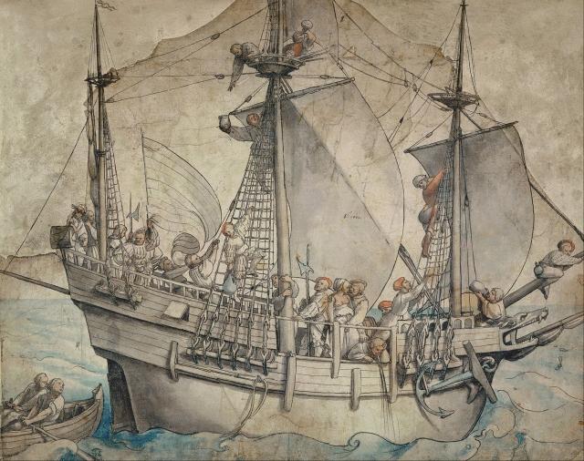 Западноевропейское купеческое судно. Рисунок XVI века