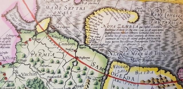 Фрагмент голландской карты Йодокуса Хондиуса 1606 г. Спустя 50 лет после плавания Э. Бэрроу западное побережье Новой Земли уже относительно хорошо изучено