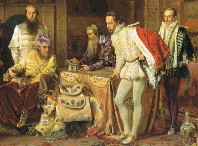 Царь Иоанн Грозный показывает свои сокровища Английскому послу Горсею. Картина А.Литовченко. 1875 год