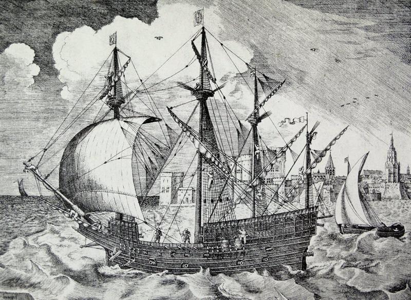 Европейский торговый корабль. Гравюра XVI  века