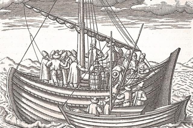 Русская лодья. Европейская гравюра XVI века