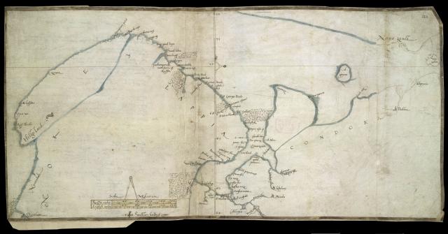 Секретная карта Кольского полуострова, принадлежавшая госсекретарю королевы Елизаветы I Уильяму Сесилю, составленная капитаном Стивеном Барроу в 1556 году. Ее точность поражает