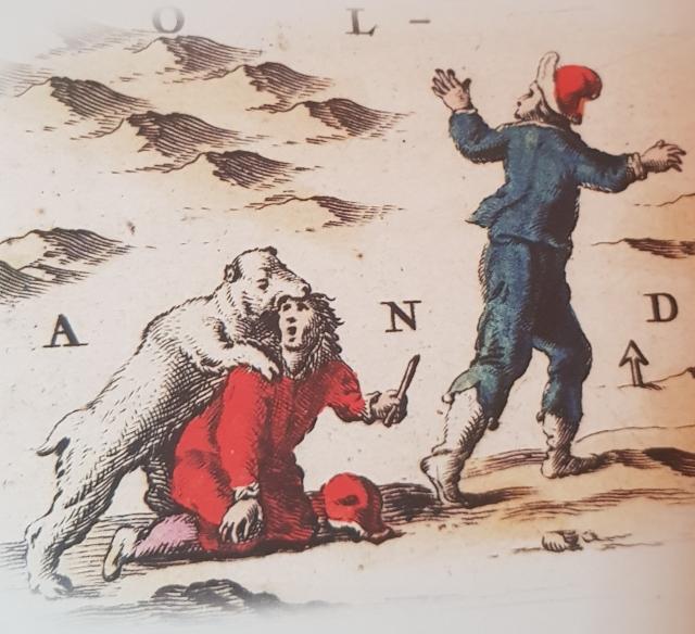 Неудачная охота на белого медведя на голландской карте У. Блау XVII века