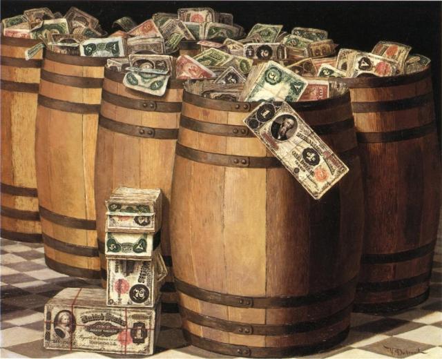 Виктор Дюбрей. Бочки с деньгами. 1897
