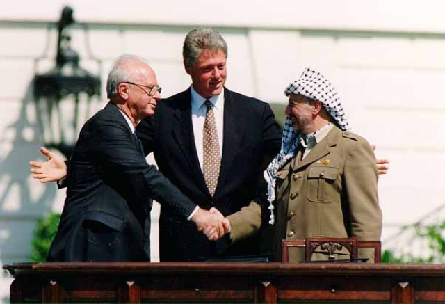 Ицхак Рабин, Билл Клинтон и Ясир Арафат