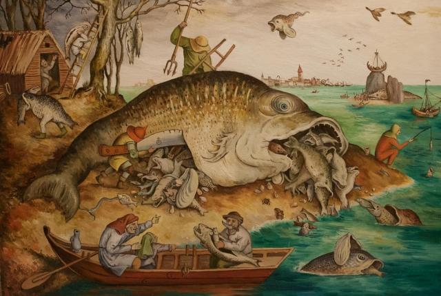 Питер Брейгель Старший. Большие рыбы пожирают маленьких.1565
