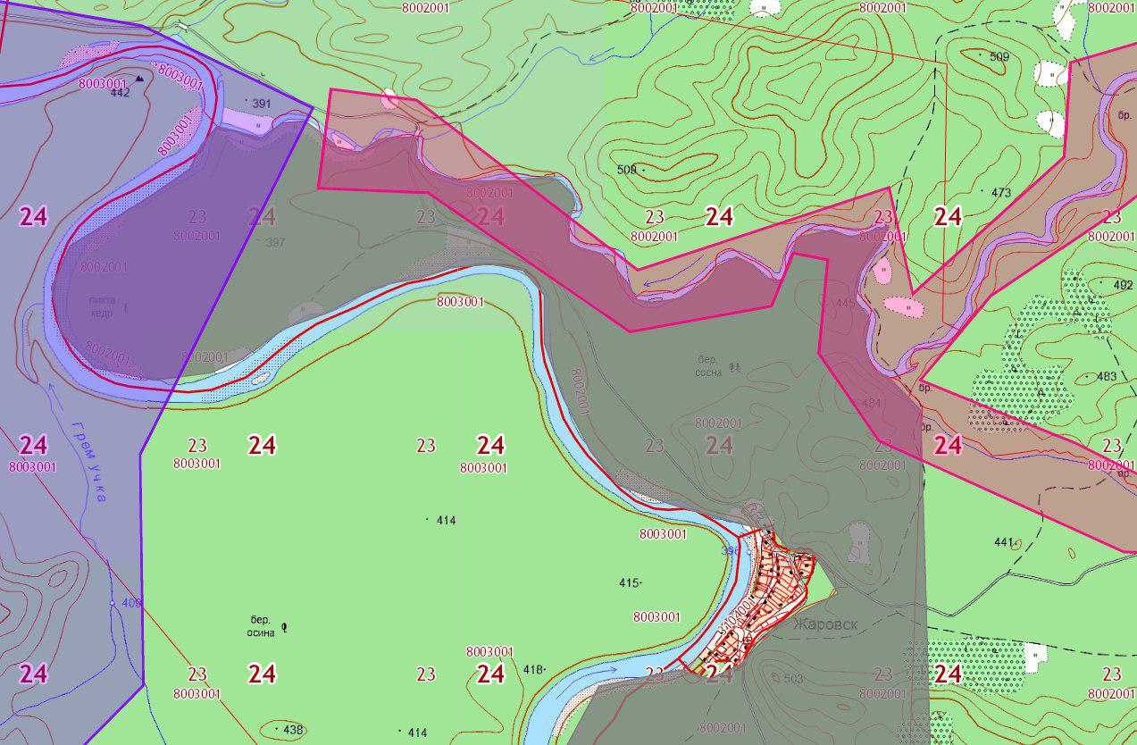 Участки золотодобывающих компаний (выделены розовым и фиолетовым), вторгающиеся на зарезервированную под заказник территорию