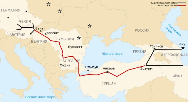 Схема маршрута газопровода Баку — Тбилиси — Эрзурум