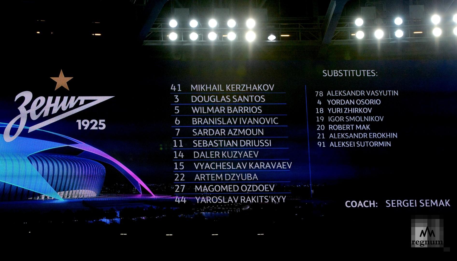 Лига Чемпионов. ЗЕНИТ-ЛИОН