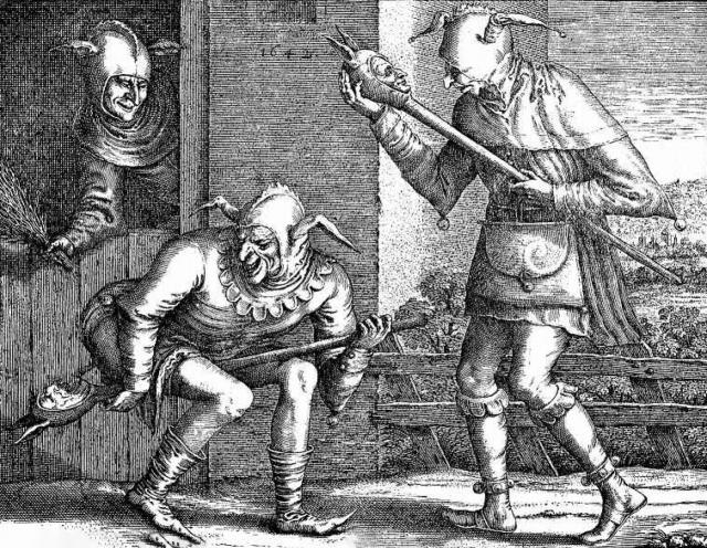 Питер Брейгель Старший. Два шута, забавляющиеся шутовскими жезлами. 1562