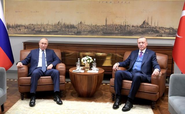 Встреча Владимира Путина с Президентом Турции Реджепом Тайипом Эрдоганом. Стамбул. 2020