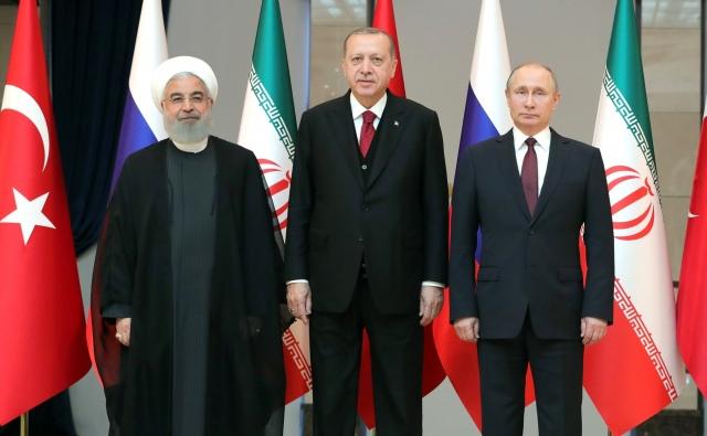 Встреча Владимира Путина с Президентом Ирана Хасаном Рухани и Президентом Турции Реджепом Тайипом Эрдоганом. Анкара. 2018